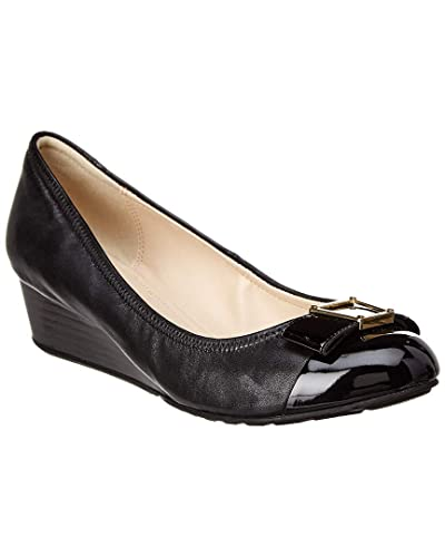 b2bf11fd1a Cole Haan Women's Emory Bow Wedge (40MM) Pump, Black Leather, ...