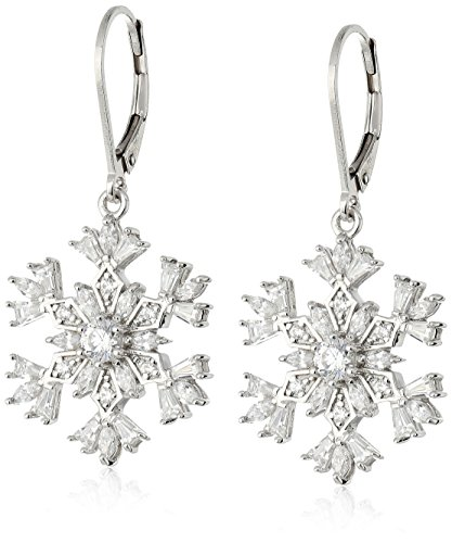 Snowflake Earrings - Platinum Plated Sterling Silver Snowflake Lever back Earrings set with Swarovski Zirconia (3 cttw)