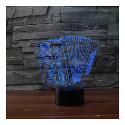 Musical Instrument Accordion Acrylic Night Light 3D led Light Personality...