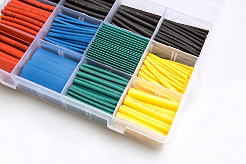 600 pcs Heat Shrink Tubing 2:1 Wire Sleeve Electrical Wire Cable Wrap Assorted Electric Insulation Sleeve Cable Wire Wrap Kit for DIY 5 Colors 8 Sizes in a Plastic Box ()