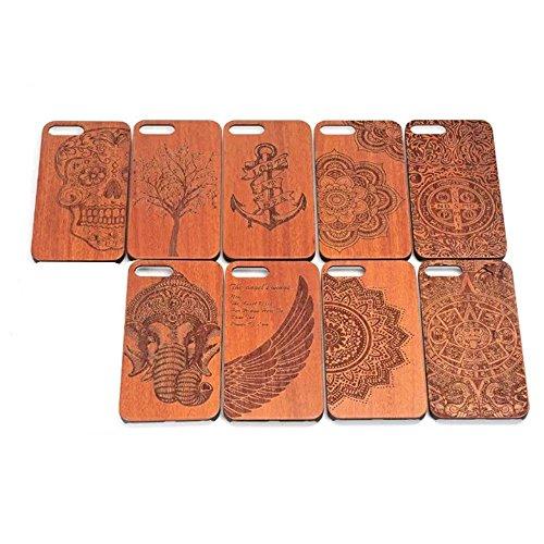 Vandot Funda de Madera natural con Diseño estampado elefante para el iPhone 7 Plus, Azteca Tribal Madera Cubierta Caja de PC Premium Trasera Dura Contraportada Lujo Caso hecho a mano Carcasa Protector Wood 03