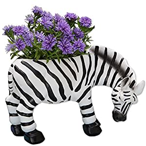 Bits and Pieces - Indoor-Outdoor Zebra Planter - Whimsical Wildlife Animal Urn for Plants - Durable Polyresin Safari Inspired Décor