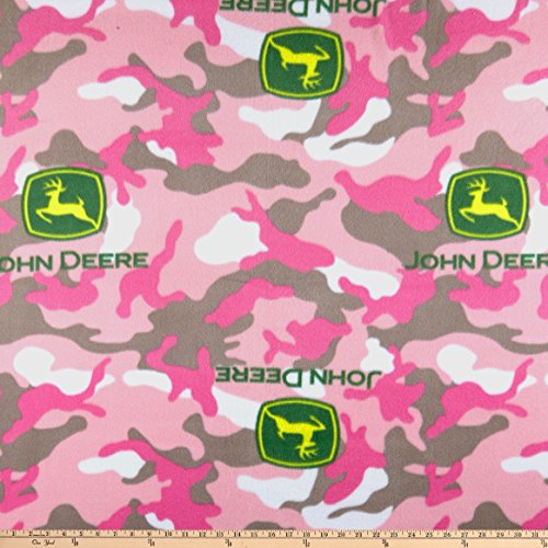 Springs Creative Products John Deere Everyday Fleece Logo Toss On Camo Pink Fabric by the -