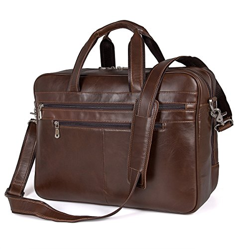 Augus Business Travel Briefcase Genuine Leather Duffel Bags for Men Laptop Bag fits 15.6 inches Laptop (Best Business Travel Bag)