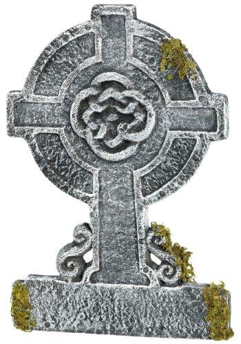 Creepy Cemetery Halloween Party Mossy Celtic Cross Tombstone Decoration, Foam, 22