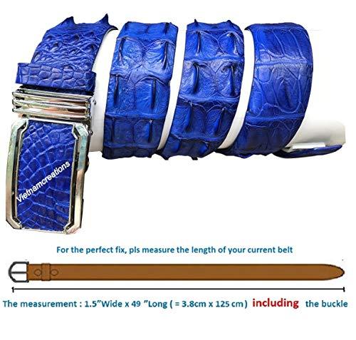 NoJointed # Men's Belt Genuine Crocodile Alligator Skin Leather Belt Handmade (Navy Blue