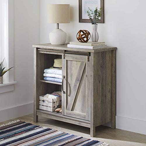 Better Homes Gardens Modern Farmhouse Accent Storage Cabinet, Rustic Gray Finish