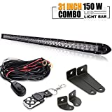 DOT Approved 30In Single Row Slim Low Profile Mini LED Light Bar On Grill Front Back Bumper Backup Light For Truck Trailer Polariz RZR Chevy Jeep Ford Off Road Toyota Tacoma Tundra Boat SxS UTV 4WD