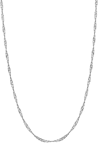 Sterling Silver Singapore Rope Chain 2.4mm 925 Italy Twisted Curb Necklace
