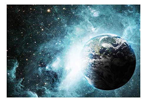 Earth Surrounded by Shades of Blue Galaxies Wall Mural