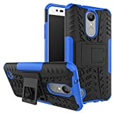 LG Aristo Case, LG Phoenix 3 Case, LG LV3 Case, LG Fortune Case,Yiakeng Shockproof Impact Protection Rugged Dual Layer Protective Armor Case Cover with Kickstand 5' (Blue)