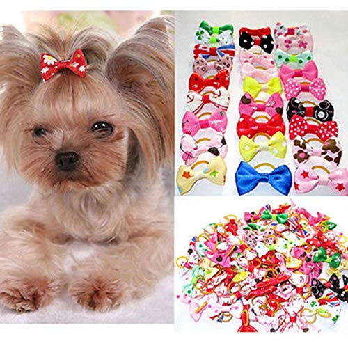 Dog Accessories - 10pcs Bowknot Cute Dog Rubber Band Handmade Pet Grooming Mixed Ribbon Hair Bow Color Random - Pink Warehouse Husky Accessories Carrier Male Backpack Clothing Puppy Expe