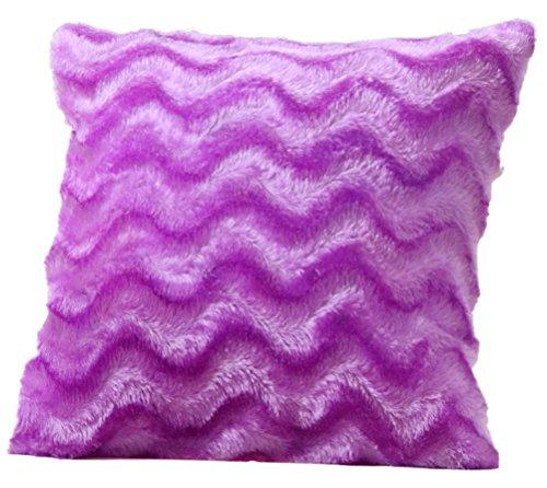 LivebyCare Plush Wavy Stripe Sofa Pillow PP Cotton Insert Plush Rayon 17x17 Inch Chair Seat Cushion Zipper for Decorative Sofa Bed Couch Bolster Lumbar Pillow Purple