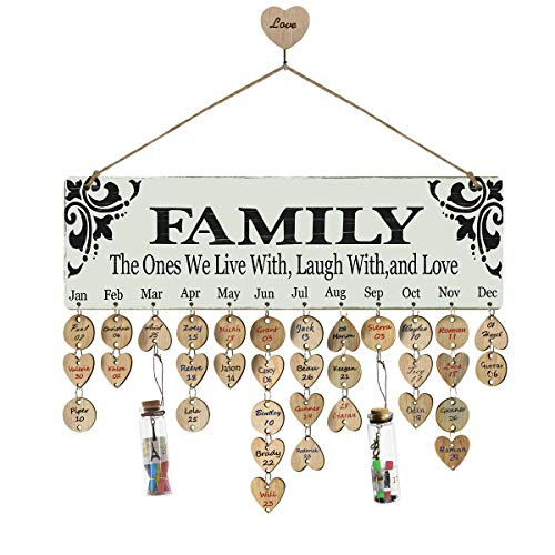 Airelon Gift for Mom Grandma, Creative Wooden Calendar Family Birthday Board Home Wall Hanging Decor Birthday and Celebrations Plaque Romatic for Wife Birthday Gift for Female (#03)