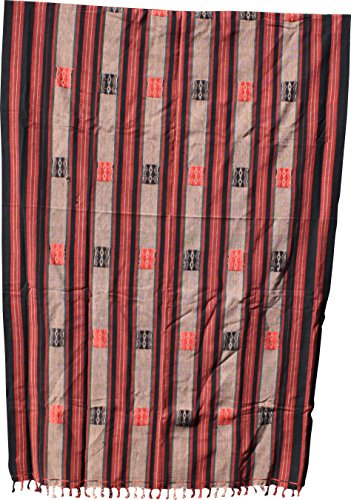 (RaanPahMuang Burmese Naga Thick Woven Traditional Cotton Table Cloth or Fabric, 38x62 inches, Brown/Black/Red #G)