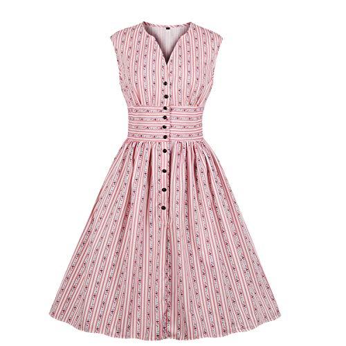 Print Vintage Dress - Wellwits Women's Button Down Stripes Floral Print 1950s Vintage Dress Pink 2XL