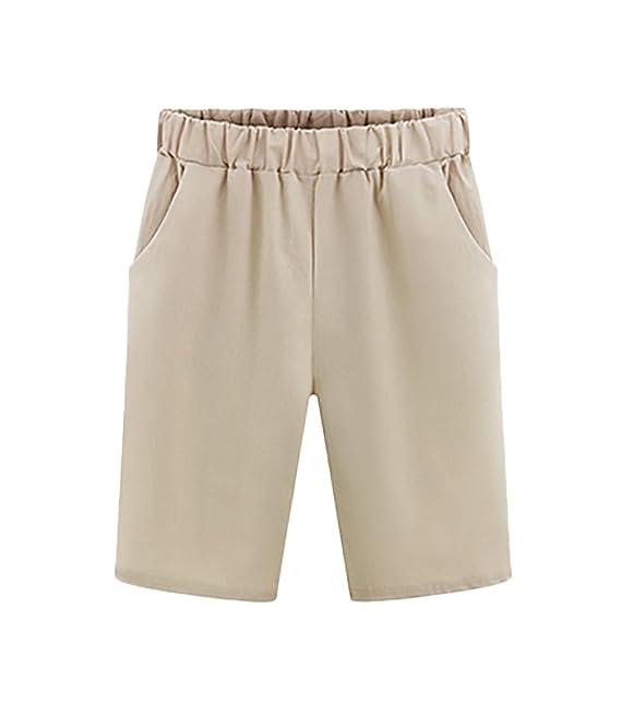 e6c8c318b72a Bermudas Mujer Verano Moda Color Sólido Casual Anchos Cintura Elastica Plus  Size Pantalones Cortos Shorts Tallas Grandes