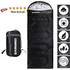 FUNDANGO Large Sleeping Bag, Single 3-4 Season Waterproof Sleeping Bags for Adults and for Kids – Envelope Compact, Lightweight, Camping Hiking,Backpacking Warm Sleeping Bag with Compressor Bagpacking Warm Sleeping Bag with Compressor Bag