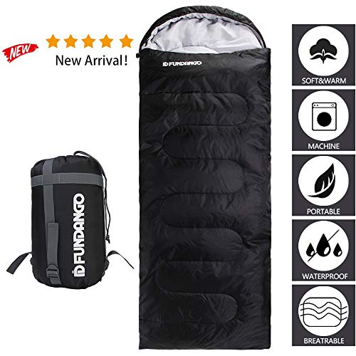 FUNDANGO Sleeping Bag Adults/Kids Lightweight Rectangular/Mummy Compact Waterproof Portable Summer Cool Weather Season Sleeping Bags for Camping Backpacking Hiking Extreme 4℃/39.2℉with Compression Bag