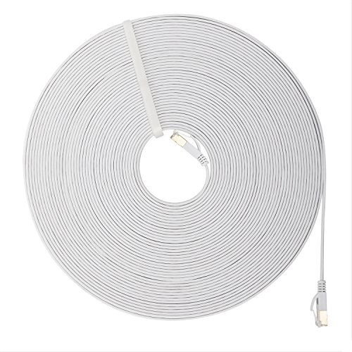 Cat 7 Ethernet Cable 80 Ft,Ruaeoda White RJ45 Connectors High Speed 10 Gigabit Flat Lan Network Cable