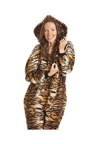 Tigre Pijama Lujo Marrón De Marron Capucha Onesie Camille Uno Oro Todo En Las Con Mujeres Print Y Z0YBfW