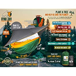 Ryno Tuff Camping Hammock with Mosquito Net And Rain Fly – Double Hammock with Bug Net and Tarp, Reinforced Not to Tear But Still Lightweight, Extra Pocket, Safe Tree Straps, and Heavy Duty Carabiners