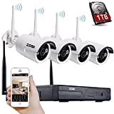 [Better Than 720P]ZOSI 4CH 960P HD WI-FI NVR Recorder w/ 1TB Hard Drive 4 x 720P 1.0M High Resolution Weatherproof Day Night Vision 30m Wireless IP Network Camera Home Security System Support Smartphone Remote view