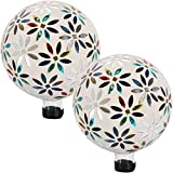 Sunnydaze Mosaic Flowers Gazing Globe Glass Garden Ball, Outdoor Lawn and Yard Ornament, Multi-Colored, 10-Inch, Set of 2