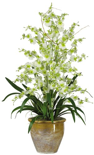 (Nearly Natural 1070-GR Triple Dancing Lady Silk Flower Arrangement, Green)