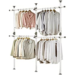 PRINCE HANGER | One Touch Double 2 Tier Adjustable Hanger | Holding 80kg(176LB) per horizontal bar | Clothing Rack | Closet Organizer | 38mm Vertical pole | Heavy Duty | Garment Rack | PHUS-0033