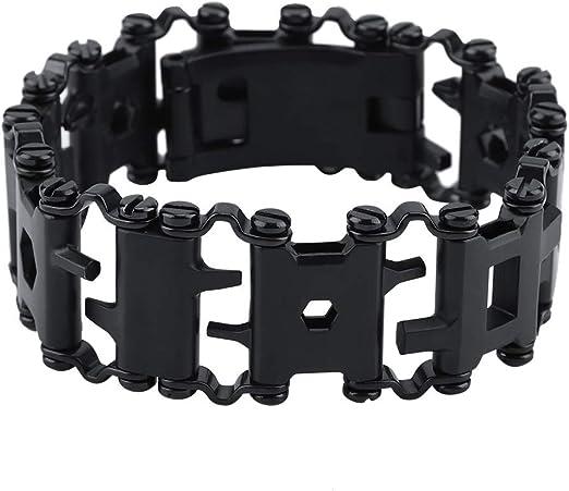 Werkzeug-Armband Farbe : Wei/ß 29 in 1 multifunktionales Edelstahl-Au/ßenwerkzeug-Armband Tragbares Punk-Armband
