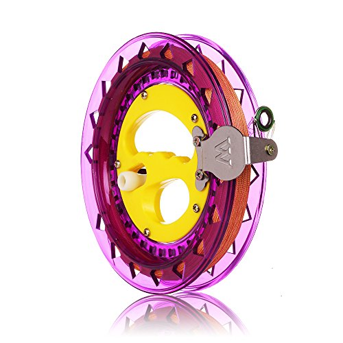 - HAPPYTOY Kite Reel Winder Kite String Handle Reel [Lock-on] with Line - 1000ft Durable String (Purple - Yellow)