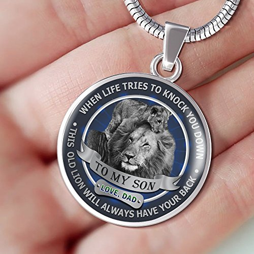 To My Son Pendant Necklace Love Dad Father and Son Lion - Inspirational Personalized Birthday Gifts for Teen Son, Tween Boy - This old Lion will always have your back by AZ Family Gift (Image #1)