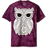 The Mountain Men's Colorwear Owl 3 Adult Coloring T-Shirt, Purple, Small
