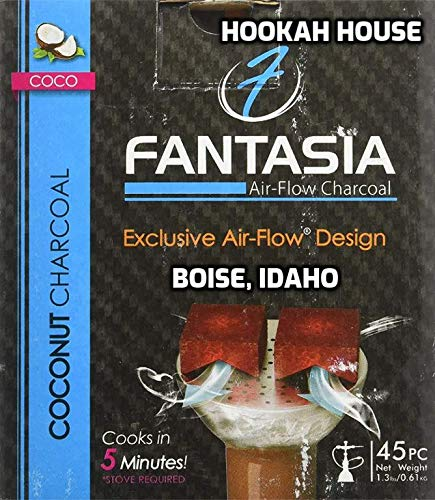 FANTASIA AIR Flow Coconut Charcoal Supplies for HOOKAHS - 45pc Non Quick Light Shisha coals for Hookah Pipes. All Natural Coal Accessories & Parts That are Tasteless, Odorless, Chemical Free.