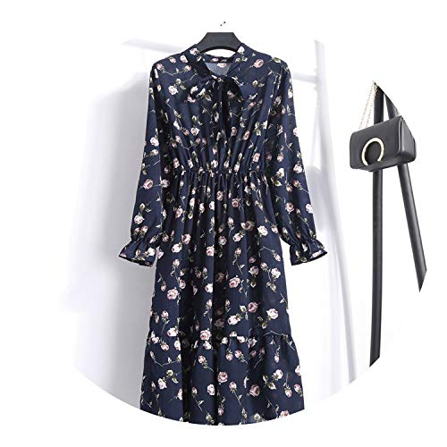 Summer Autumn Chiffon Print Dress Casual Cute Women Floral Long Bowknot Dresses Long Sleeve Vestido S-XL Size,No.8,M