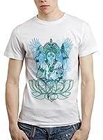 6thCross Mens Poly Cotton Round Neck White T Shirt