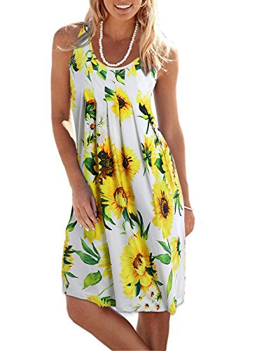Print Mum (HUSKARY Womens Summer Sleeveless Casual Printed Floral Mini Vest Dress (White, X-Large))