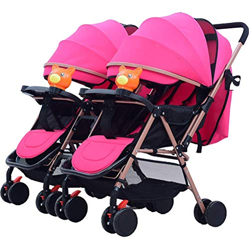 Baby Twin Stroller, Folding Tandem Pushchair Double Rotation Two-Way Split Sit and Lie Light Baby Umbrella Car Twins Pram for Newborn (Color : Pink)