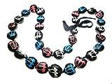 Hawaiian Style Kukui Nut Lei, Hand Painted Multi-color Turtle 32 Inches