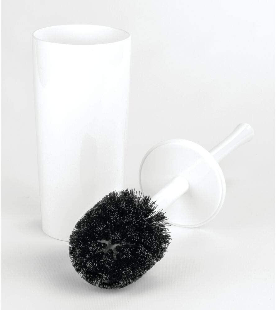mDesign Slim Compact Plastic Toilet Bowl Brush and Holder for Bathroom Storage - Sturdy, Deep Cleaning - White: Home & Kitchen