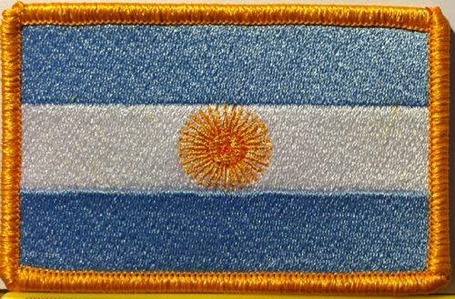 Argentina Flag Patch with Hook & Loop Tactical Morale Travel Gold Border MC Biker Shoulder ()