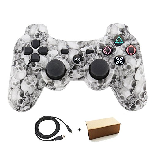 Molgegk Wireless Bluetooth Controllers For PS3 Double Shock - Bundled with USB charge cord (White Skull) ()
