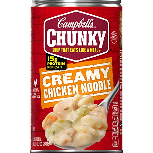 Campbell's Chunky Creamy Chicken Noodle Soup, 18.8 oz. Can (Pack of 12)