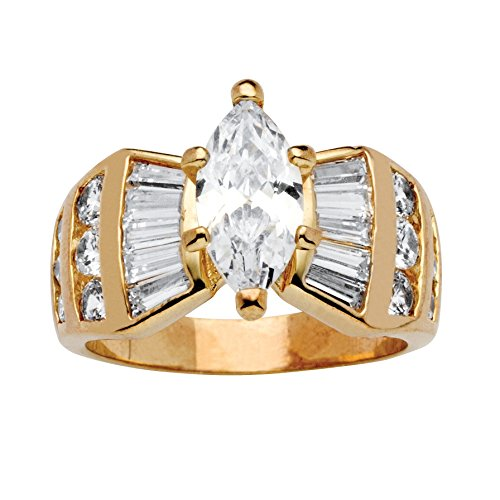 Marquise Tapered Ring (14K Yellow Gold-plated Marquise and Baguette Cubic Zirconia Ring Size 7)