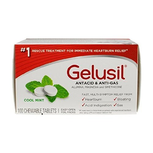 Gelusil Antacid/Anti-Gas Tablets Cool Mint, 100 Tablets