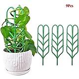 Exttlliy Plastic Leaf Shape Plant Support DIY Garden Mini Climbing Trellis Flower Supports Green (9Pcs)