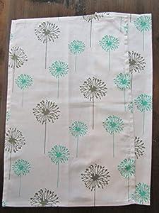 Set of 2 - Patterned Kitchen Towels - Decorator Quality (Turquoise & Grey Dandelion)