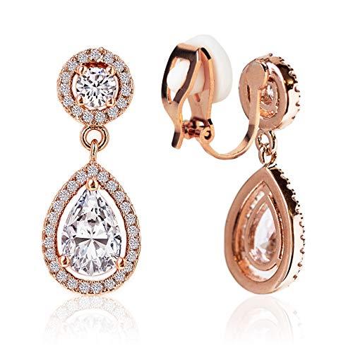 Clip on Earrings, Drop Crystal Clip Earrings in Rose-Gold