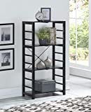None Black Finish Solid Wood Frame 4-tier Bookshelf Bookcase Display Shelf Kitchen with Slat Shelves